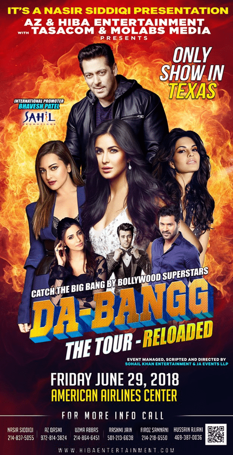 salman khan concert 2018, Dabangg Tour, Bollywood night, Bollywood music night, Bollywood night Texas, Bollywood night near me, upcoming events in Texas, events near me, events nearby, events today, desi events, Indian events