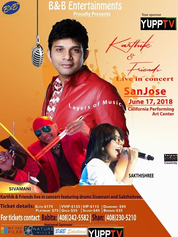 Karthik and Friends, upcoming events in California, events near me, events today, events nearby, desi events, Indian events, musical events, music concert, musical night