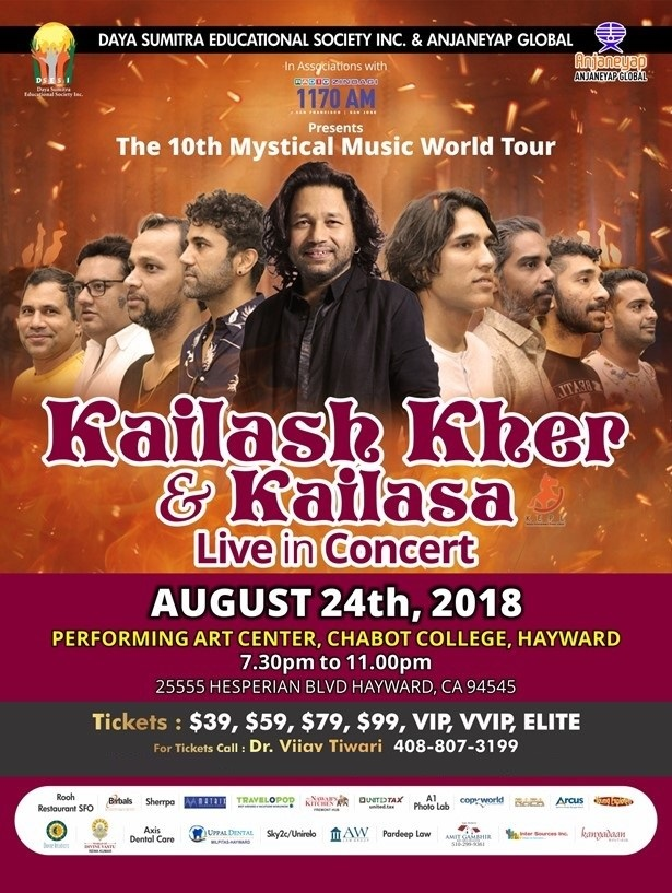 Kailash Kher Live Music Concert in Bay Area