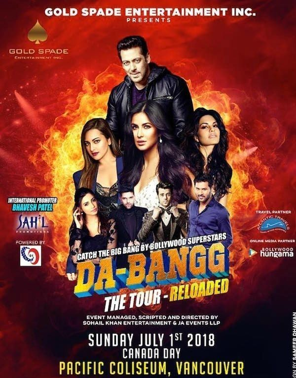 Salman Khan, salman khan concert 2018, Dabangg Tour, Bollywood night, Bollywood music night, Bollywood night Vancouver, Bollywood night near me, upcoming events in Vancouver, events near me, events nearby, events today, desi events, Indian events