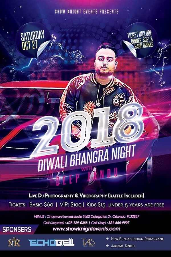 Diwali Bhangra Night 2018 with Deep Jandu - Orlando, Florida