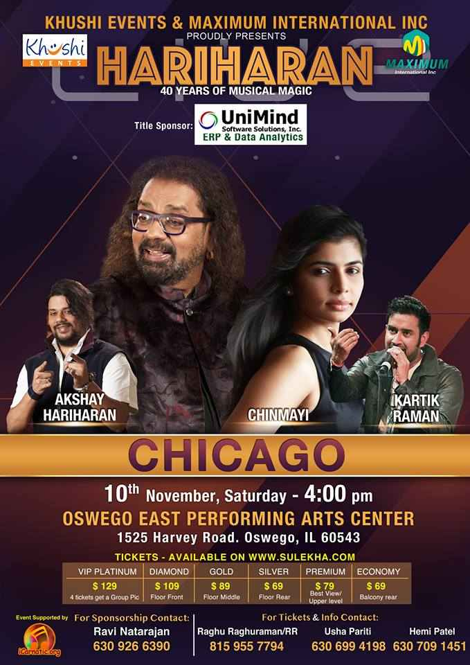 Hariharan Live in Concert - Illinois