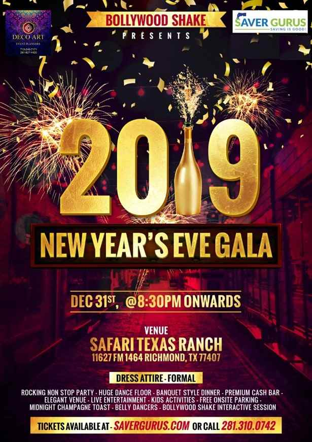 Bollywood Shake NYE 2019 Gala - Texas