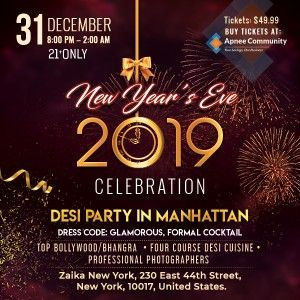 New Years Eve 2019: Glamour Desi Party in Manhattan
