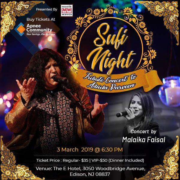 Sufi Night - Tribute Concert To Abida parveen by Malaika Faisal - Music Concerts Near Me