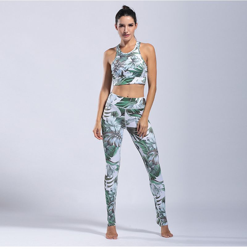 Womens-Yoga-Suits-Green-Floral-Crop-Tank-Top-And-Trousers-Pants-Workout-Clothes (7)