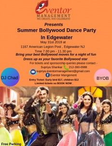 Summer Bollywood Dance Party in Edgewater  updated Flyer