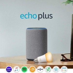 Echo Plus (2nd Gen) with Philips Hue Bulb – Alexa smart home starter kit – Heather Gray