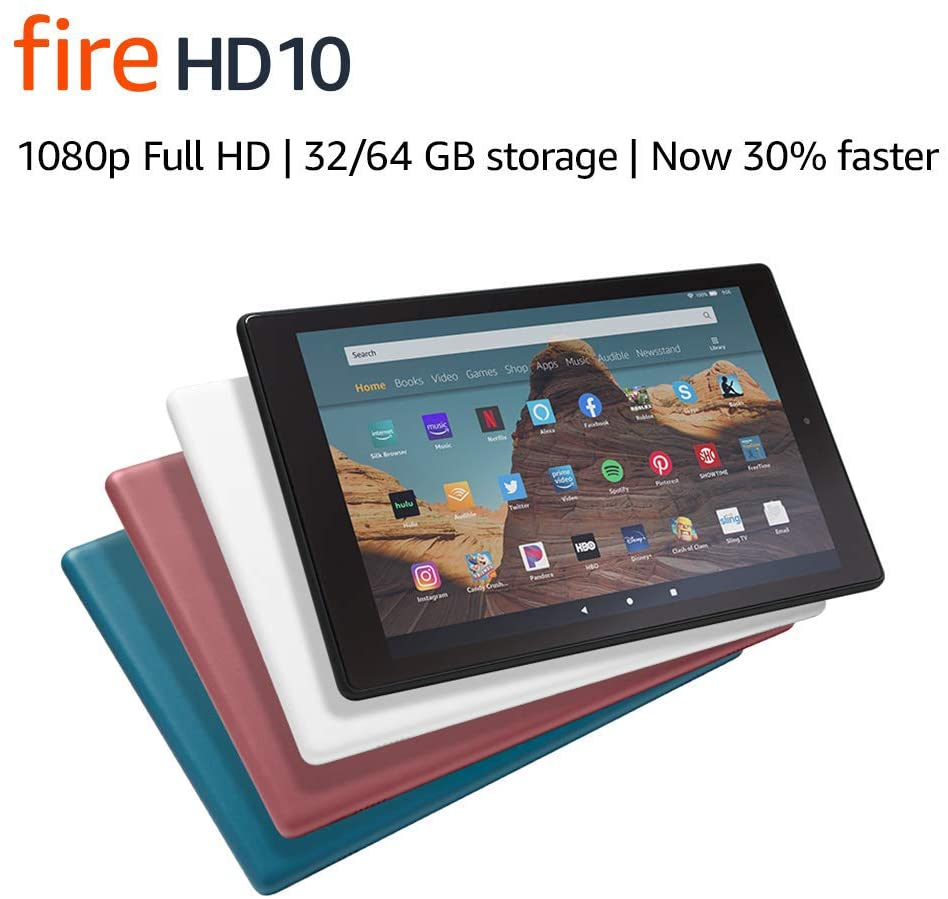 Fire HD 10 Tablet (10.1″ 1080p full HD display, 32 GB) – Black